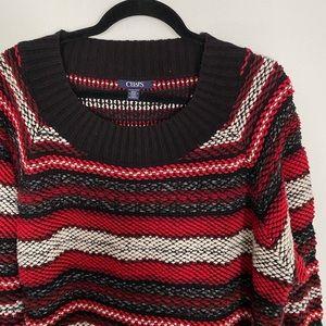 Chaps Women's Plus Striped Chunky Knit Sweater